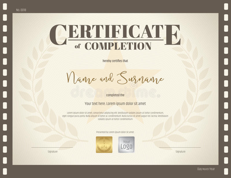 Certificate of completion template in movie theme stock vector download certificate of completion template in movie theme stock vector illustration of laurel graduation yelopaper Choice Image