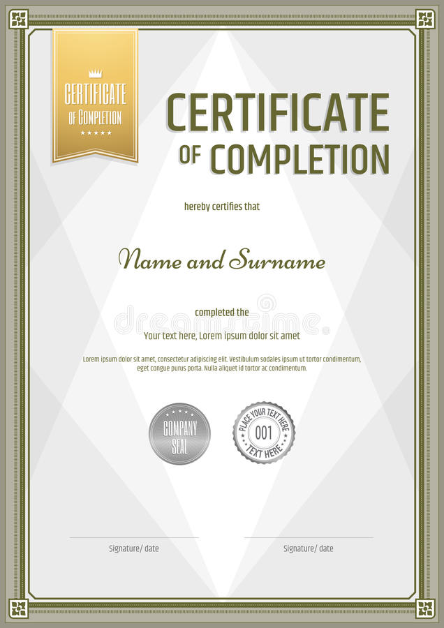Certificate of completion template in portrait stock vector download certificate of completion template in portrait stock vector illustration of border guarantee yadclub