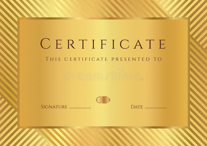 Golden Certificate / diploma template royalty free illustration