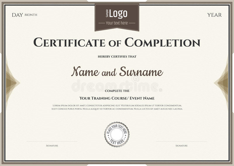 Certificate Of Completion Template In Vector Stock Vector