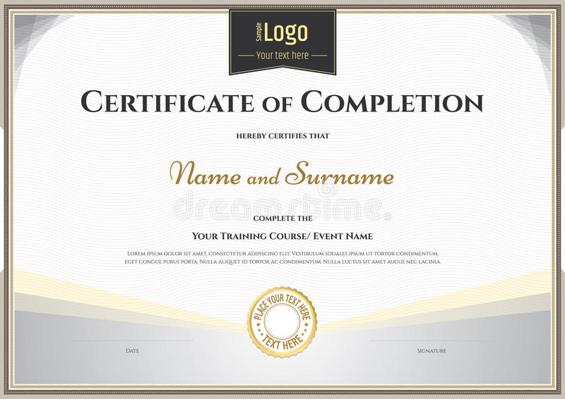 Certificate Of Completion Template In Vector For Achievement Gra ...