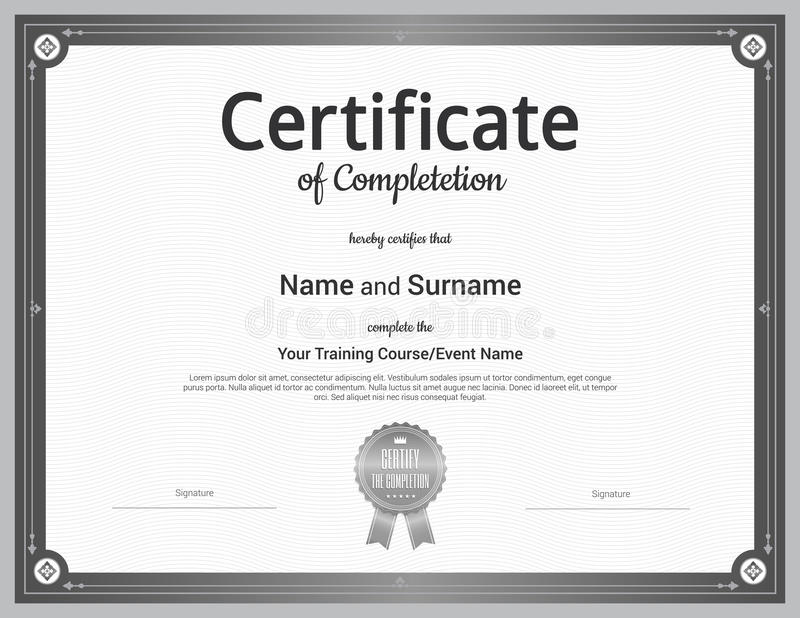 Certificate Of Completion Template In Vector Stock Illustration
