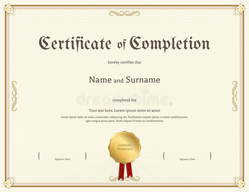 Certificate of completion template in vintage theme stock vector download certificate of completion template in vintage theme stock vector illustration of border document yadclub