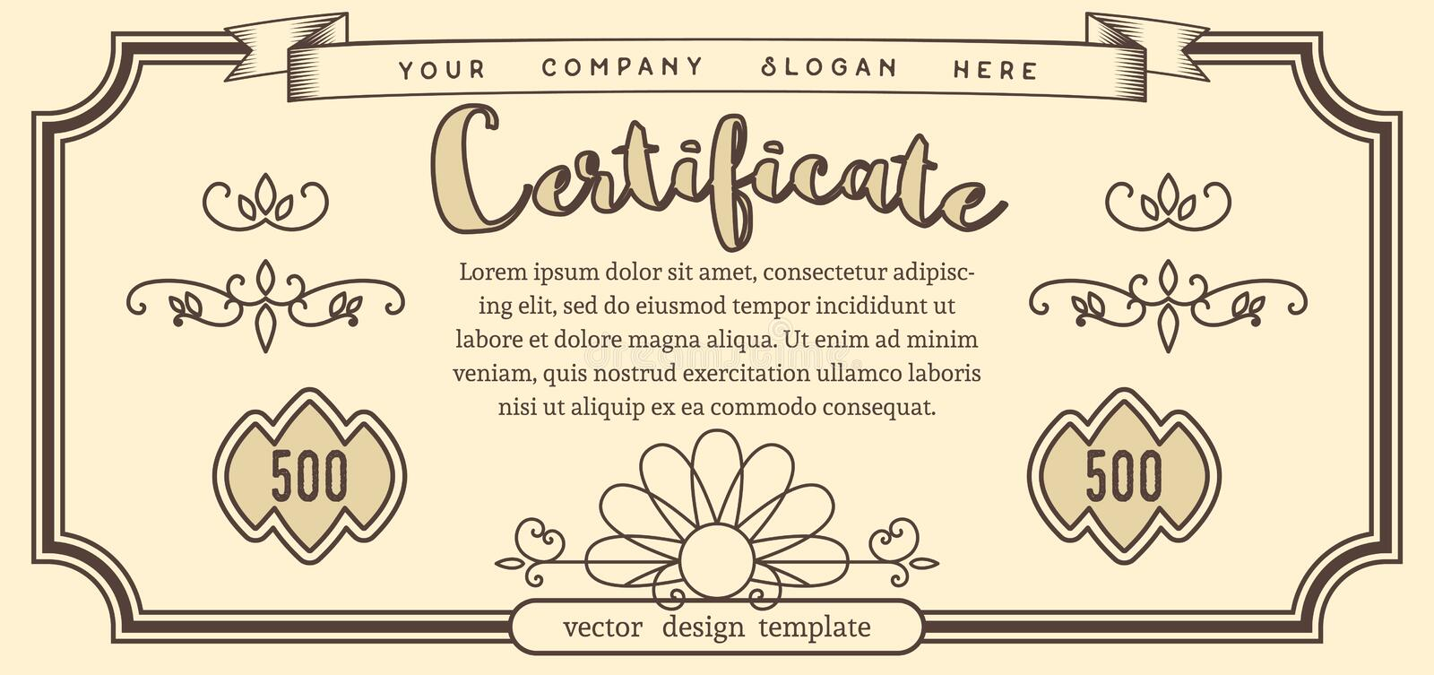 Vector Template of Vintage Certificate stock illustration