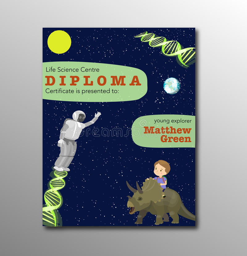 Certificate crianças diploma, projeto do fundo do espaço da disposição do molde do jardim de infância das crianças Centro pré-esc ilustração do vetor