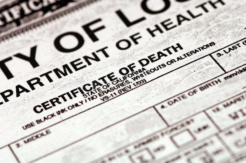 Certificate of Death royalty free stock photos
