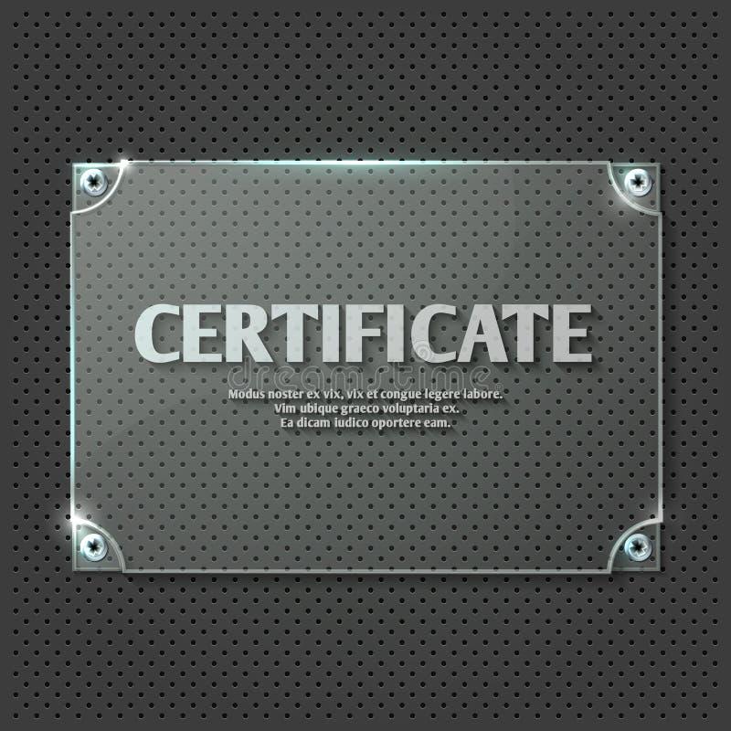 Certificate Design On Glass Plate Vector Mockup Stock Vector ...