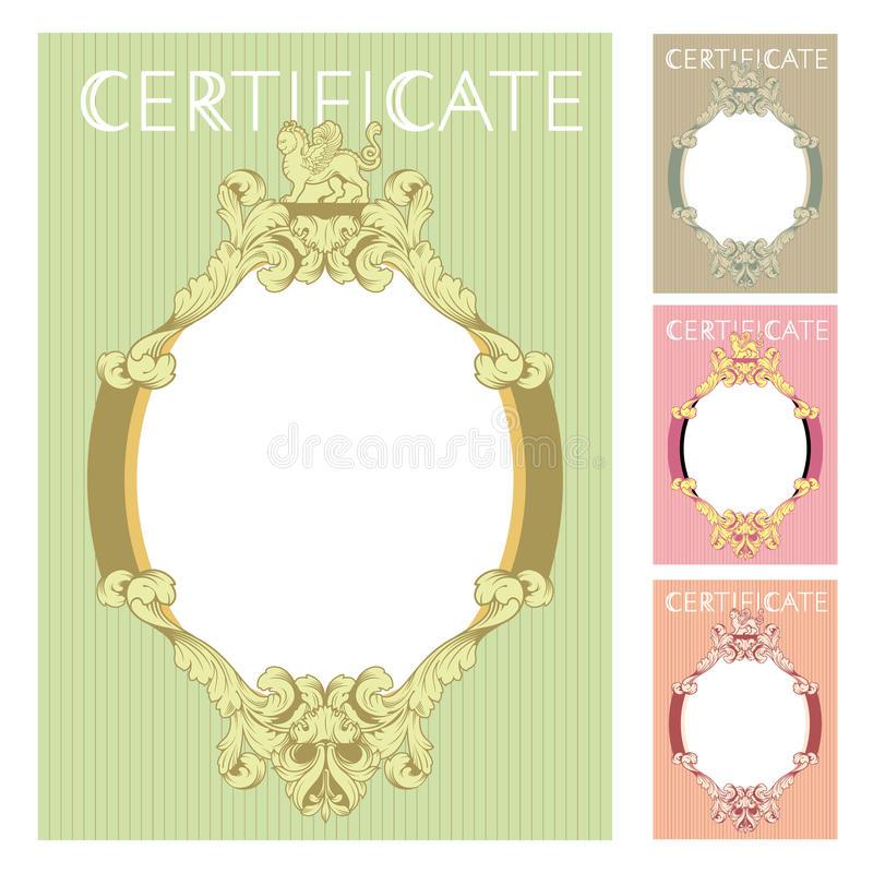 Download Certificate Design Template In Baroque Style Stock Photo - Image of document, patent: 70197498
