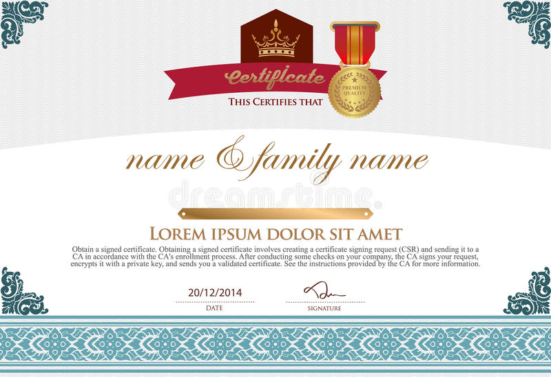 Certificate Design Template. royalty free illustration