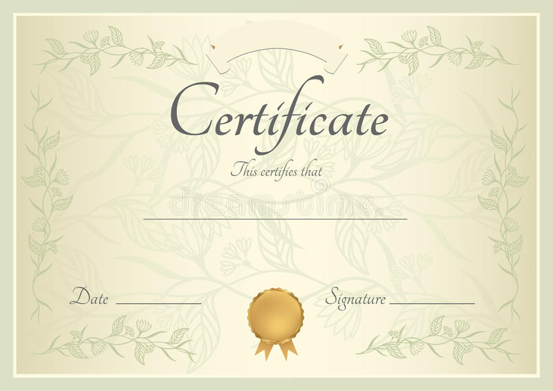 Certificate diploma background template stock vector certificate of completion template or sample background with floral pattern green frame and gold medal insignia design for diploma invitation yelopaper Images