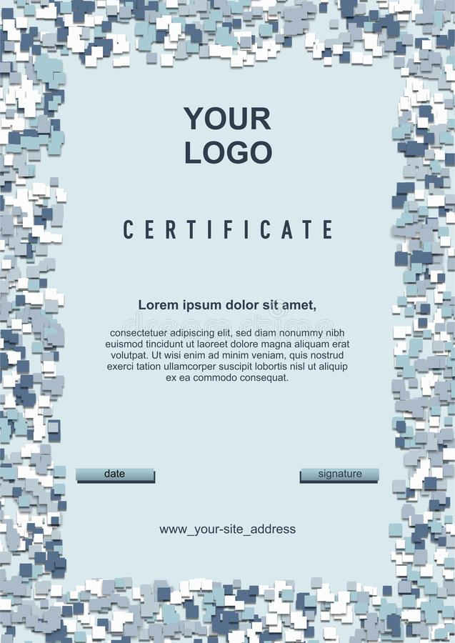 Certificate, diploma, card template with white-blue arctic camouflage frame, size A4 royalty free illustration
