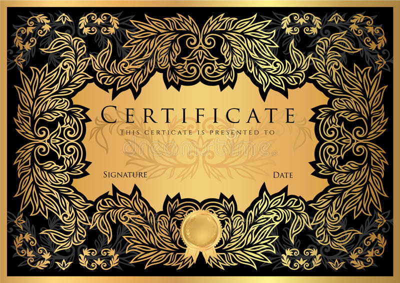 Certificate diploma of completion black design template stock download certificate diploma of completion black design template stock illustration illustration of completion yadclub Image collections