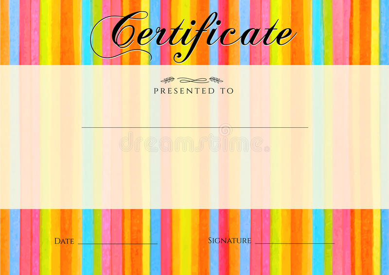 Certificate, Diploma of completion with colorful stripy (stripes border) background. Vector watercolor with rainbow line pattern royalty free illustration