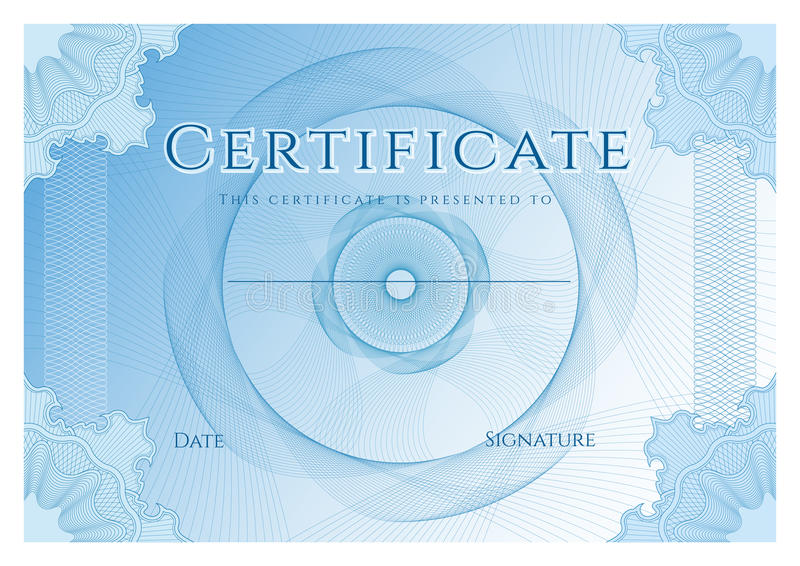Certificate, Diploma of completion design template, background with blue guilloche pattern watermark, frame stock illustration