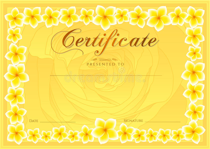 Certificate, Diploma of completion Frangipani design template, flower background with floral, pattern, border, frame stock illustration