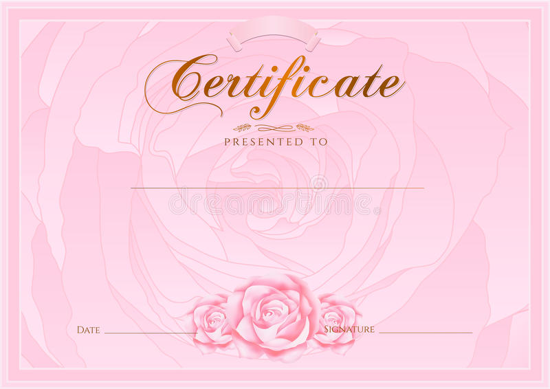 Certificate, Diploma of completion (Rose design template, flower background) with floral, pattern, border, frame royalty free illustration