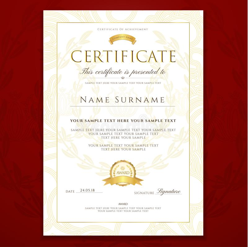 Certificate, Diploma Golden Design Template, Colorful Background ...