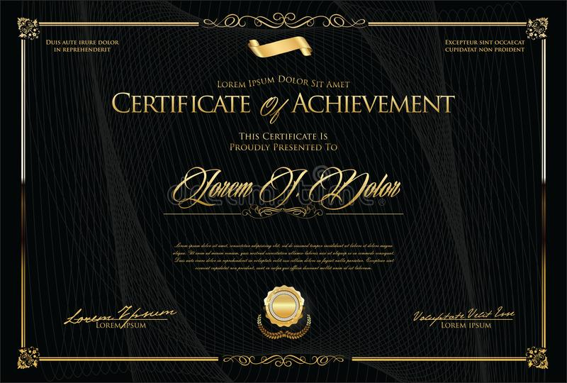 Certificate or diploma retro template vector illustration. Certificate retro template vector illustration stock illustration