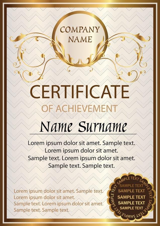 Certificate Or Diploma Template Award Winner Stock Vector