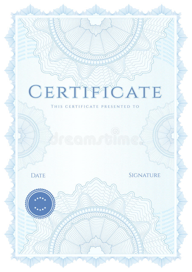 Certificate / diploma template. Blue background vector illustration