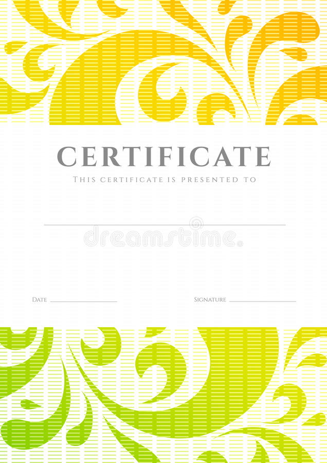 Certificate diploma template scroll pattern stock vector certificate of completion template or sample background with colorful bright rainbow floral pattern swirl scroll shape stopboris Image collections