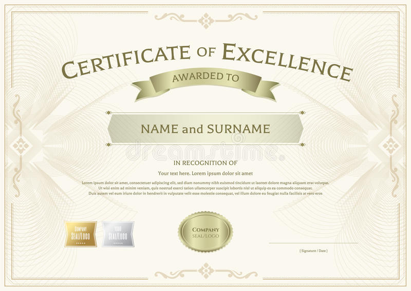 Download Certificate Of Excellence Template With Award Ribbon On Abstract  Stock Vector   Image: 94253451