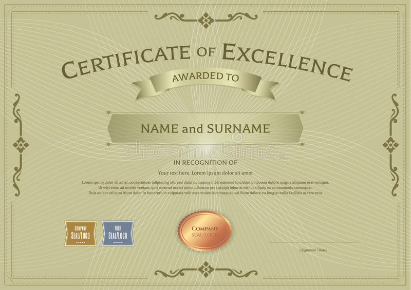 Certificate of excellence template with award ribbon on abstract download certificate of excellence template with award ribbon on abstract stock vector illustration of antique yadclub Image collections