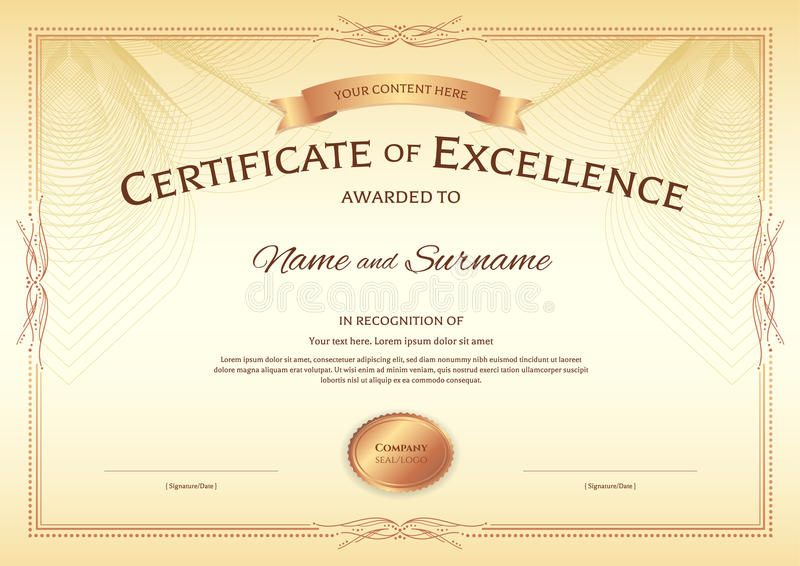 Certificate of excellence template with award ribbon on abstract download certificate of excellence template with award ribbon on abstract stock vector illustration of guilloche yadclub Image collections
