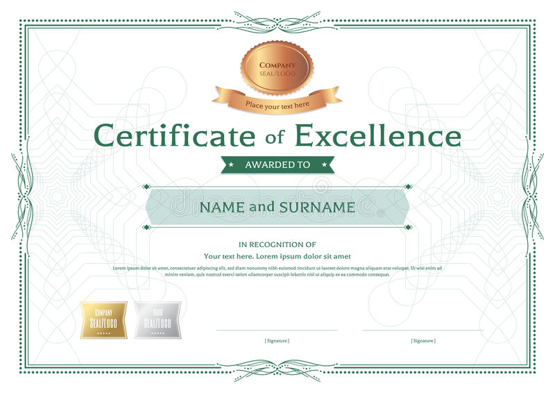 Download Certificate Of Excellence Template With Bronze Award Ribbon On A  Stock Vector   Illustration Of