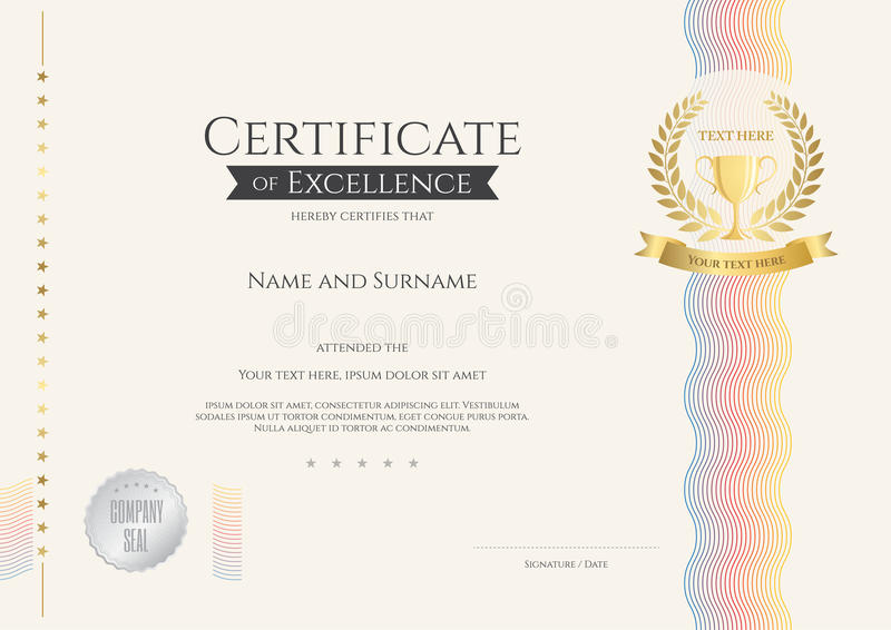Download Certificate Of Excellence Template With Colorful Wave And Gold T  Stock Vector   Illustration Of