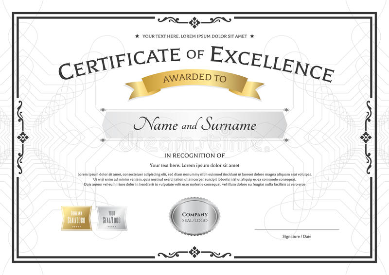 Certificate Of Excellence Template With Gold Award Ribbon On Abs ...