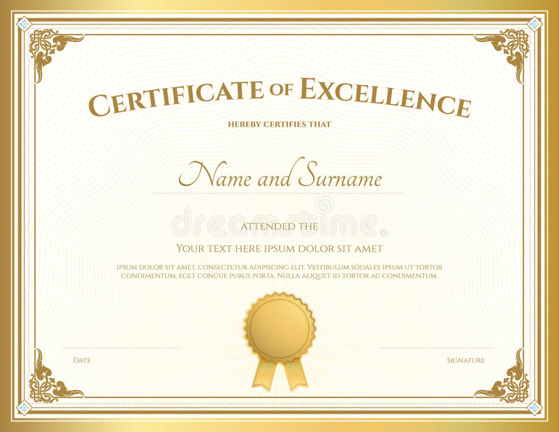 Certificate of excellence template with gold border stock vector download certificate of excellence template with gold border stock vector illustration of gift bachelor yadclub Image collections