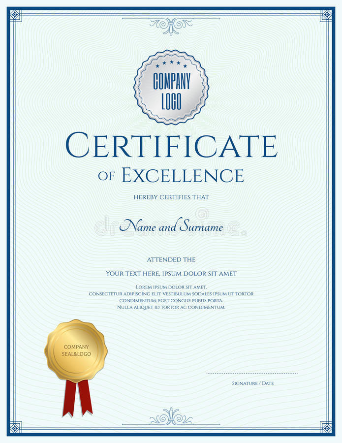 Download Certificate Of Excellence Template With Gold Seal Stock Vector    Illustration Of Guarantee, Layout