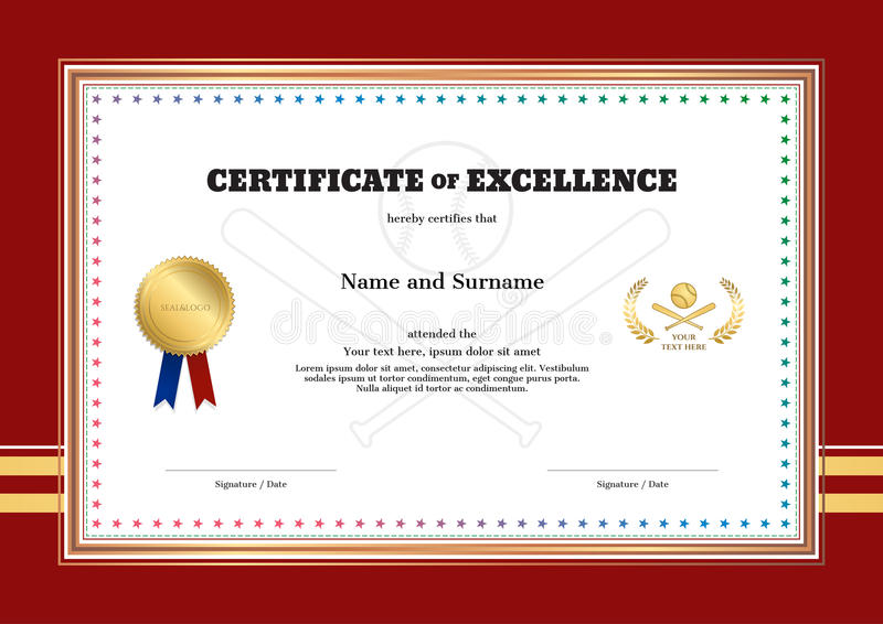 Certificate Of Excellence Template In Sport Theme For Baseball E ...