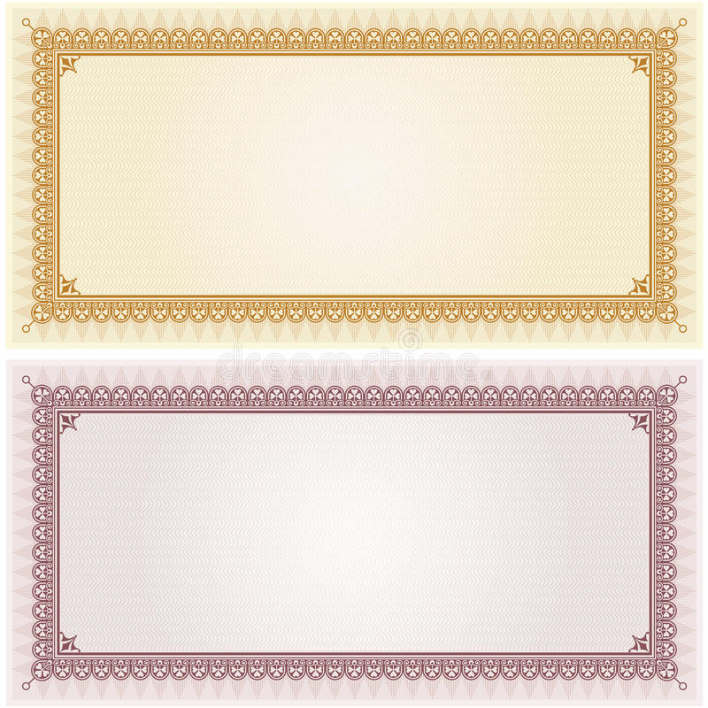 Certificate Gift Coupon Blank Template Border Frame Background Stock