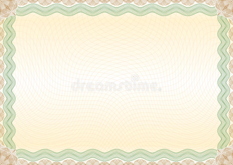 Certificate green brown border landscape stock photography