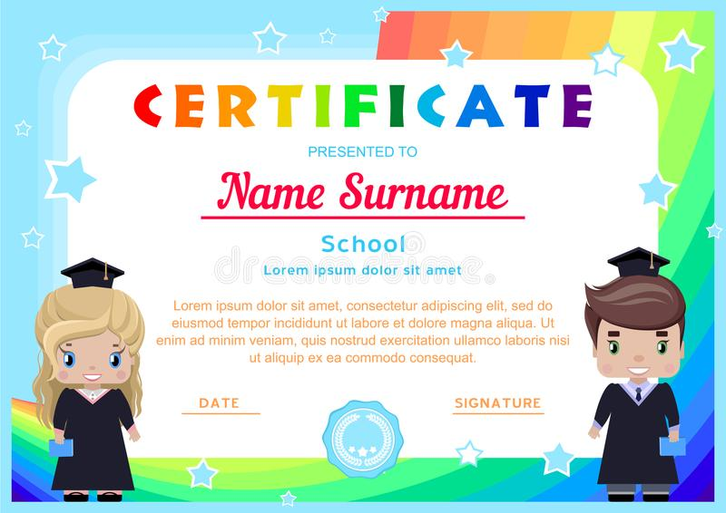 certificate with happy graduates, girl and boy in graduation dresses and hats royalty free illustration