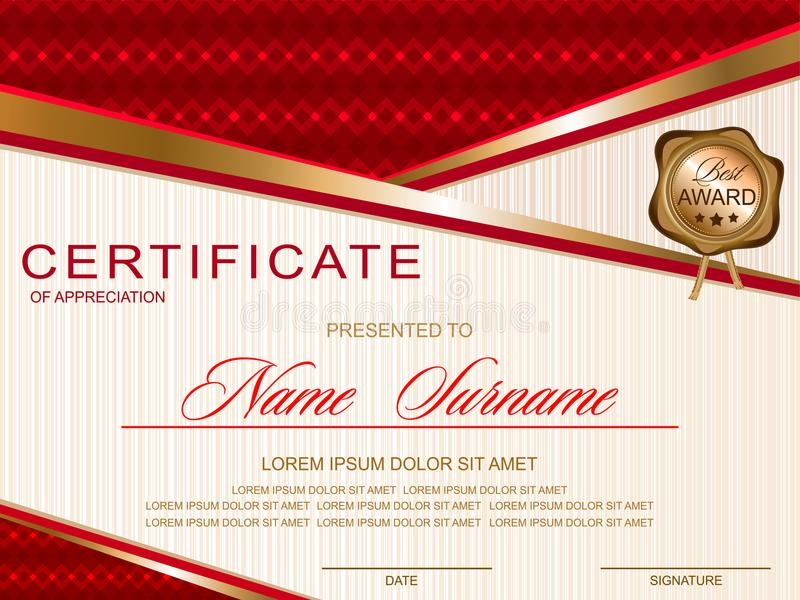 Certificate horizontal in a modern style, red and gold color vector illustration