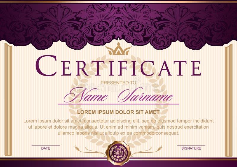 Certificate horizontal no vintage real do estilo, rococó, barroco, encanto Roxo escuro com cor do ouro ilustração stock