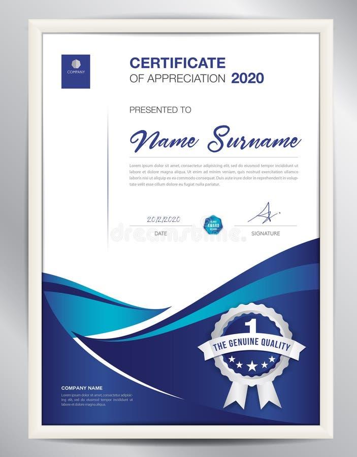 Certificate a ilustração do vetor do molde, disposição do diploma no a4 ilustração stock