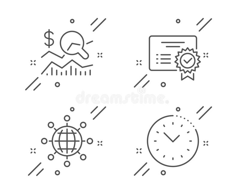 Certificate, International globe and Check investment icons set. Time management sign. Vector. Certificate, International globe and Check investment line icons vector illustration