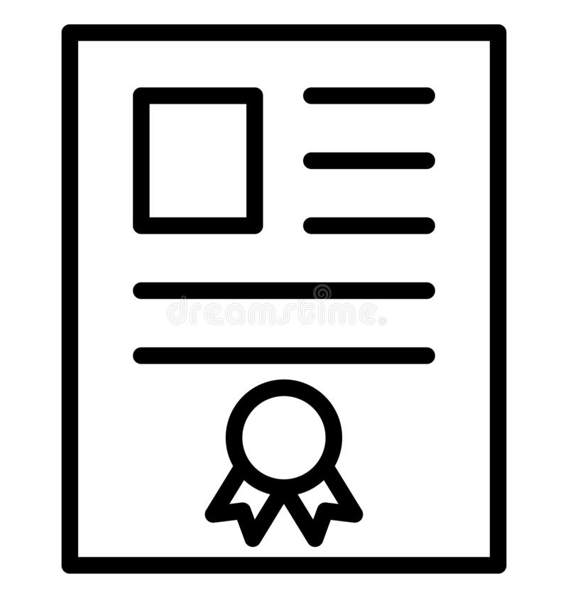 Certificate Isolated Vector Icon That can be easily Modified or Edited. stock illustration