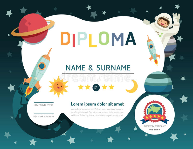 Certificate kids diploma, kindergarten template layout space background frame design vector. education preschool concept flat art. Style