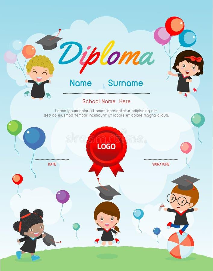 Certificate kids diploma, kindergarten template layout space background frame design vector. Diploma template for kindergarten. Students, Certificate of kids stock illustration