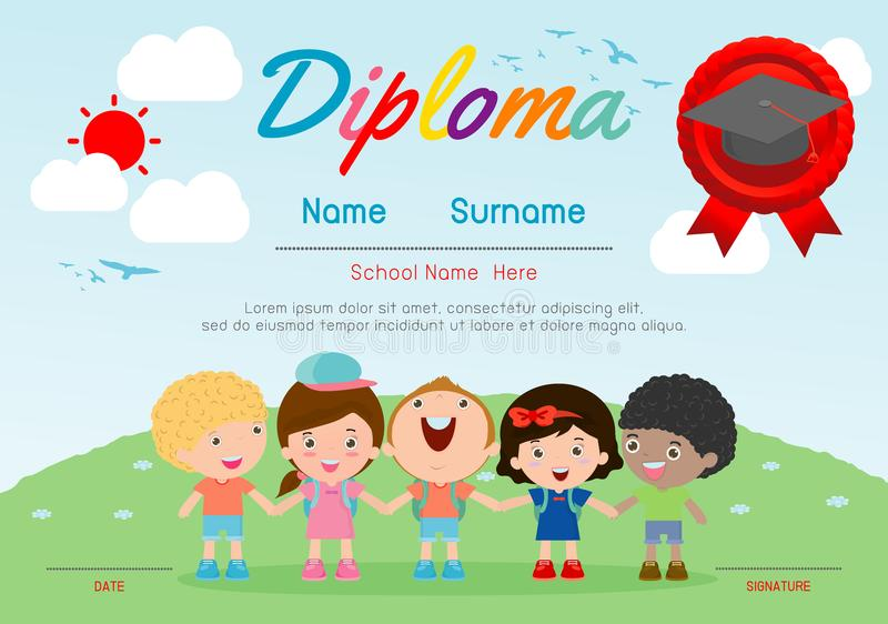 Certificate kids diploma, kindergarten template layout space background frame design vector. Diploma template for kindergarten vector illustration