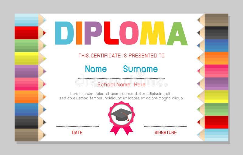 Certificate kids diploma, kindergarten template layout space background frame design vector. Diploma template for kindergarten. Students, Certificate of kids royalty free illustration