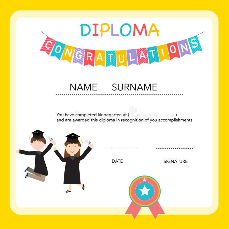 Certificate of kids diploma preschoolkindergarten template stock download certificate of kids diploma preschoolkindergarten template stock vector illustration of template yelopaper