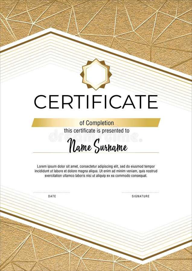 Certificate with metallic gold lines on mate gold background. Modern fashion vertical Certificate template. Elegant diploma in stock photos