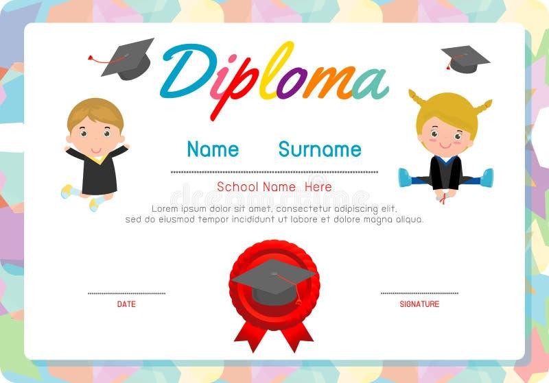 Certificate o diploma das crianças, vetor do projeto do quadro do fundo do espaço da disposição do molde do jardim de infância E ilustração royalty free