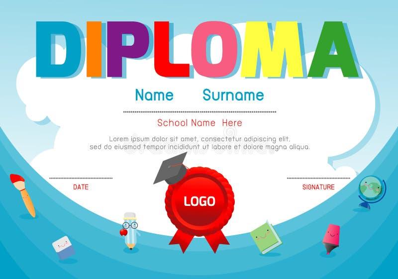 Certificate o diploma das crianças, vetor do projeto do quadro do fundo do espaço da disposição do molde do jardim de infância E ilustração stock